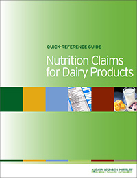 nutrition claims for dairy products