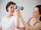 Senior Asian woman exercising